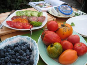 Ingredients for the Blueberry and Heirloom Tomato Salad