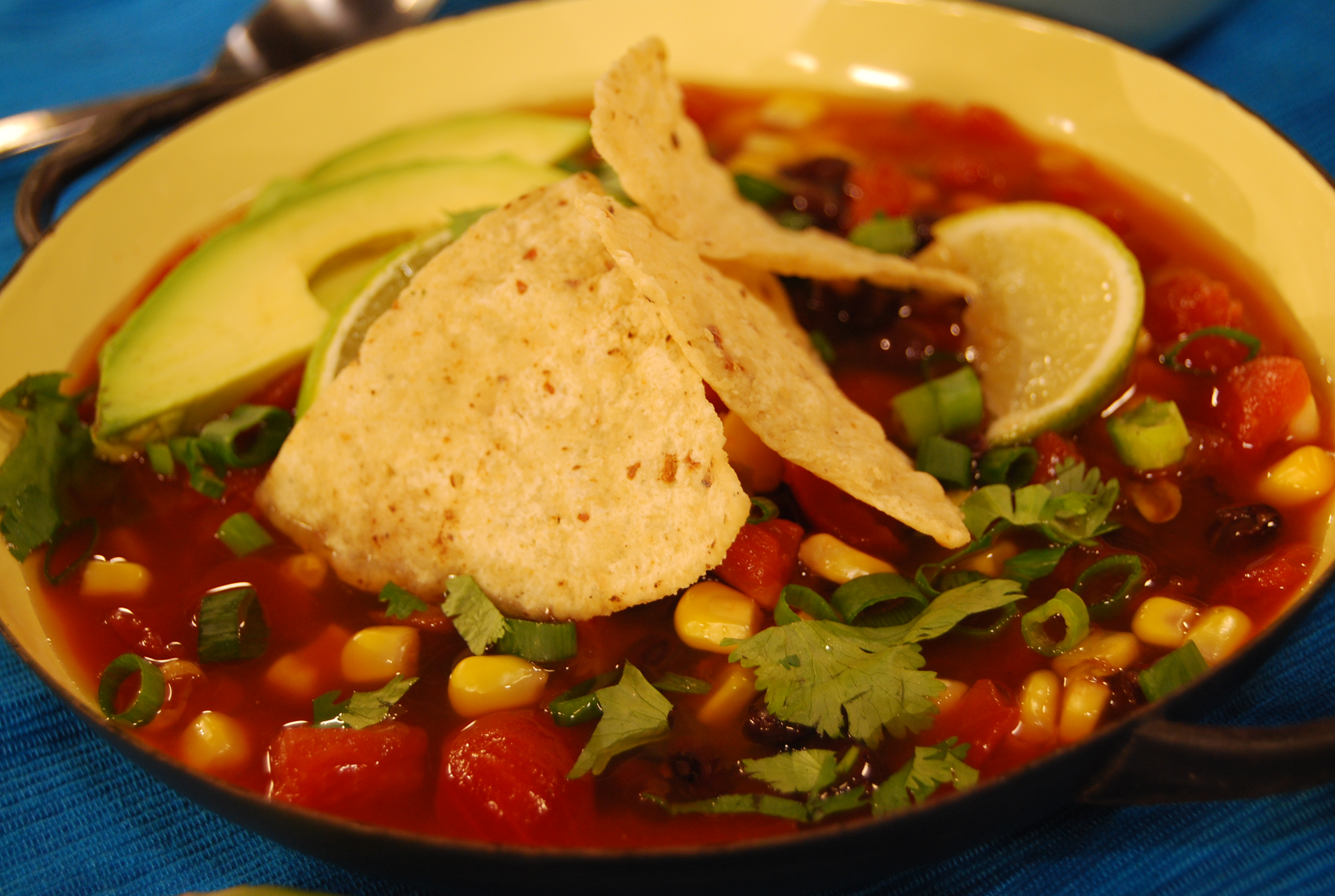 tortilla soup is a mexican style soup that usually has