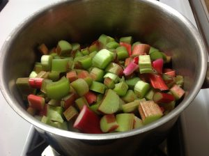 7 cups of chopped field rhubarb (okay neighbour's backyard rhubarb)