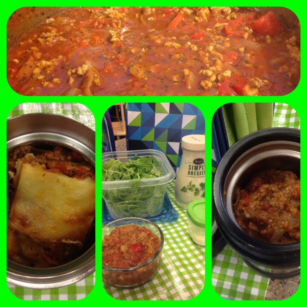 Big batch meat sauce with three back to school lunch variations: lasagna, added to a salad, or a pasta sauce.