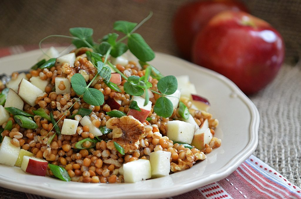 lentils, apples and wheatberries on a white bowl