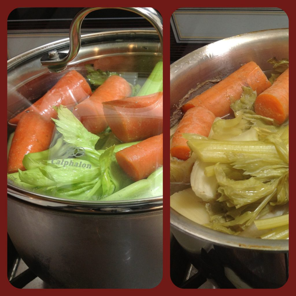 Veggies with the giblets, which are buried under the all those veggies, before and after simmering for 4 hours.