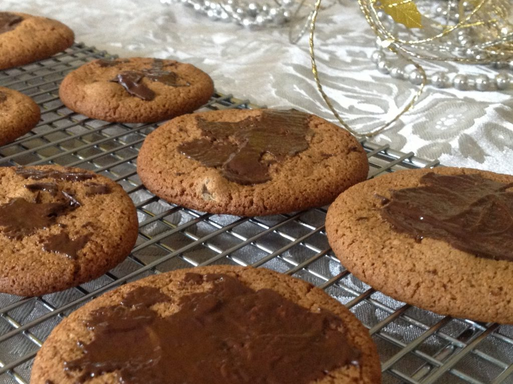 The melted chocolate is setting on the gingersnaps.  Picture by Mairlyn Smith
