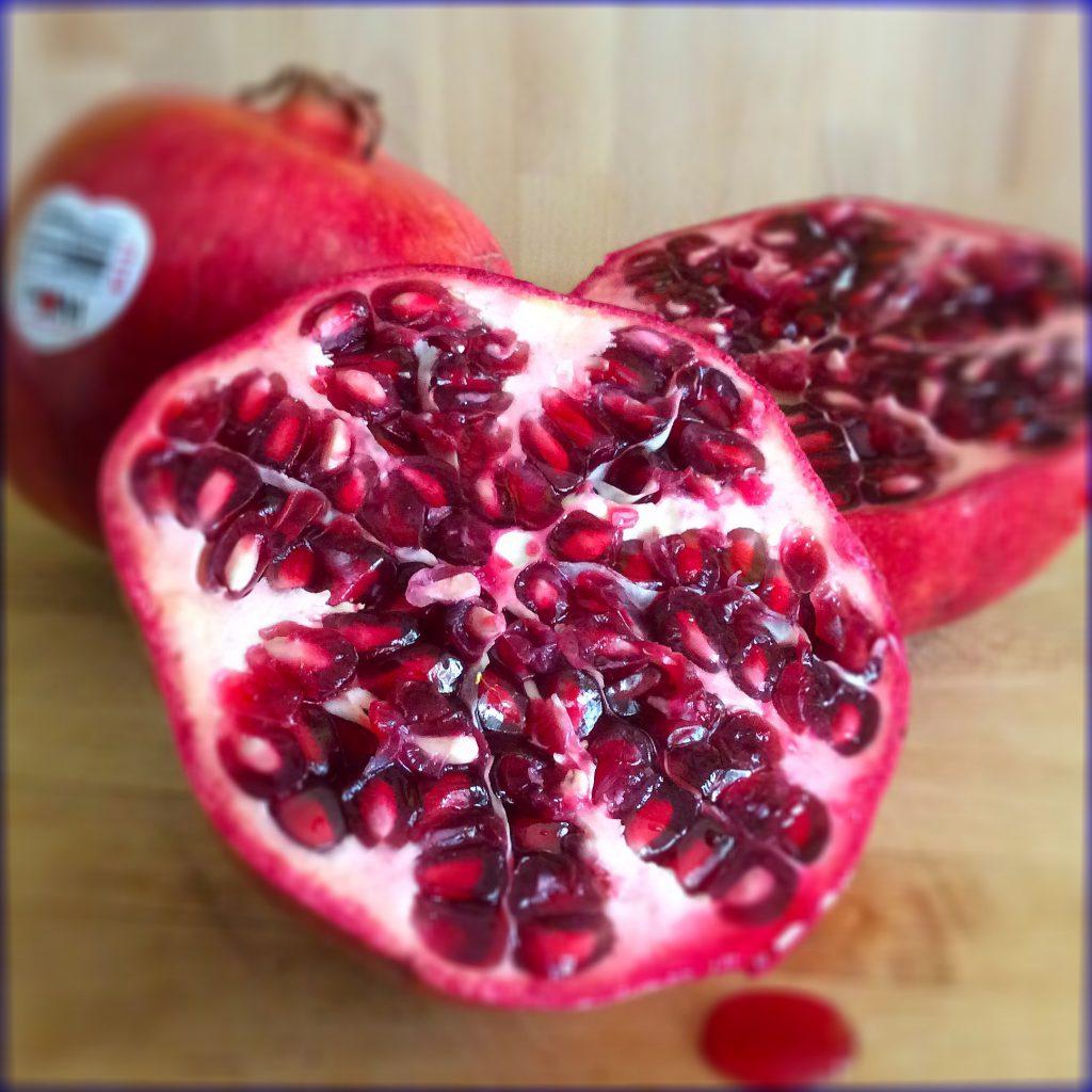 a cut pomegranate