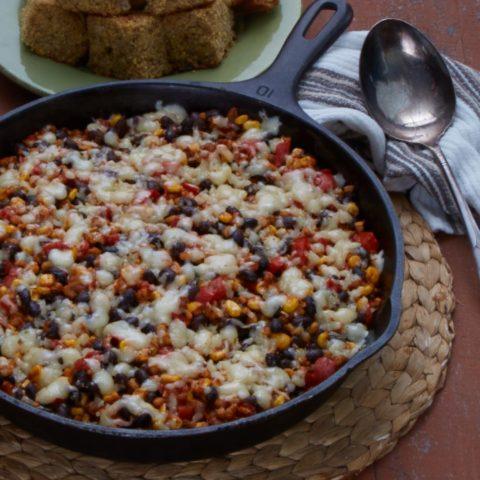 a pan of skillet enchiladas
