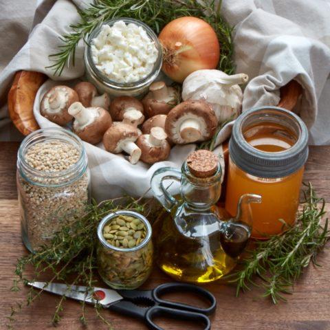 the ingredients for mushroom barley pilaf