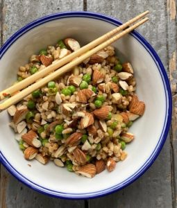 a summer salad with barley and almonds