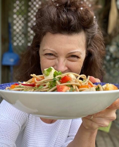 a vegetarian main course salald using tofu